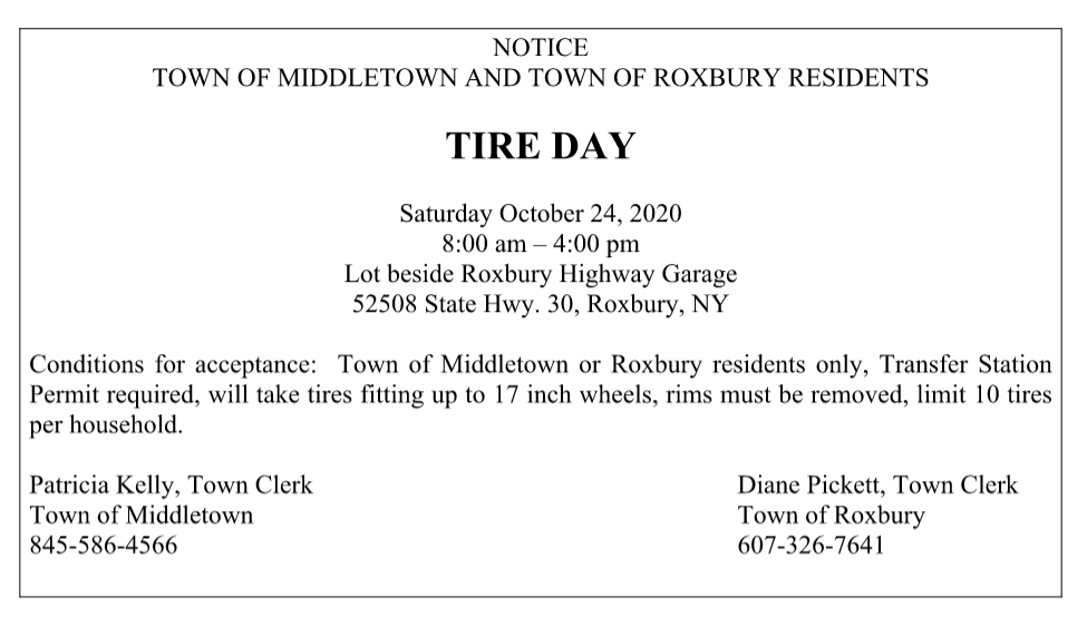 NOTICE  TOWN OF MIDDLETOWN AND TOWN OF ROXBURY RESIDENTS  TIRE DAY